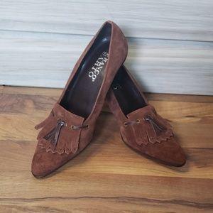 Franco Sarto Brown Suede Loafer Heels